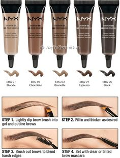 NYX Eyebrowgel. i plan to buy the chocolate or expresso color