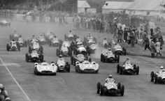 50 Years of Silverstone! The start of the British Grand Prix at Silverstone Circuit in 1954. José Froilán González leads the pack in a Ferrari 625 #9 and later won the race.