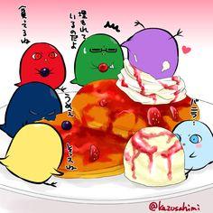 【お菓子】 皆でパンケーキ #ひよこのバスケお絵かき一本勝負