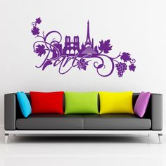Style and Apply Paris Floral Wall Decal and Sticker Mural Art Home Decor