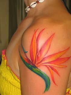 This colorful bird of paradise flower tattoo is a beautiful choice for women « « Ratta Tattoo Bird Of Paradise Tattoo, Birds Of Paradise Flower, Trendy Tattoos, New Tattoos, Tattoos For Guys, Cool Tattoos, Tatoos, Bird Tattoo Sleeves, Sleeve Tattoos