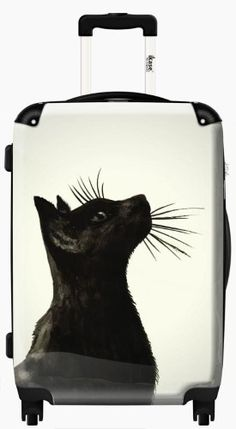 Suitcase Black Cat ,Carry on 20 inches,Harside Spinner by IKase, Multicolor