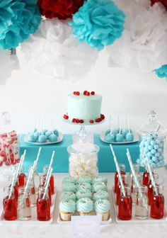 """Baby Shower Candy Buffet """"Aqua & Red"""" Do I wanna do our nursery in our wedding colors-? Hmmmm ;)"""