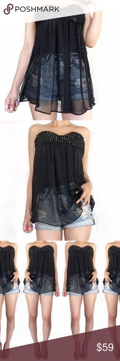 Miss me sheer black bejeweled top No trades. Open to offers. I tucked the lining in on the modeling photo but if worn untucked it is not sheer like that on the bottom half Miss Me Tops