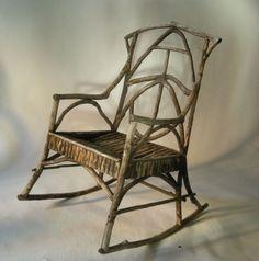 Vintage Adirondack Twig Rocking Chair