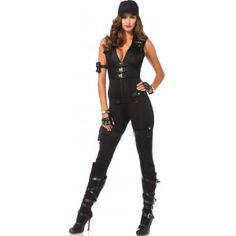 SWAT Commander Deluxe Womens Costume Our Price $68.00 Show off your curves in this zip front catsuit SWAT Commander costume. It has a badge detail attached multi strap faux vest with corset cincher back pocket arm strap utility garters with toy walkie talkie belt and matching hat. Other items shown sold separately. #cosplay #costumes #halloween