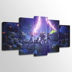 #Fortnite Canvas Wall Art Home Decor Kids Bedroom Art 5 Pieces HD Printed  Amazing