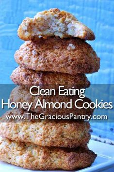 Clean Eating Almond Honey Cookies Ingredients: cups ground almonds cup honey 4 egg whites Directions: In a large mixing bowl, beat egg whites until stiff peaks form. In a second bowl mix almonds and honey. Scoop nut mixture into the egg whites an Honey Cookies, Almond Cookies, Healthy Desserts, Just Desserts, Whole Food Recipes, Cookie Recipes, Vegan Recipes, Honey Recipes, Yummy Treats