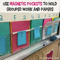 Organize student work with magnetic pockets! Have 5 spelling groups like I do? Don't stress about organizing all of the lists, just place them in these pockets. Click through to see the other four hacks I can't live without!