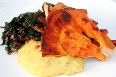 """Lightly Seared Chicken of the Woods Mushrooms with Basil Polenta and Garlicky Swiss Chard. I thought it was """"Hen of the Woods"""", but maybe I'm thinking of something else..."""