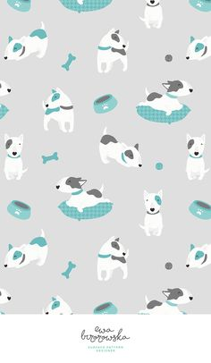 Bull terrier - textile surface pattern design with bullterrier motif in minimalistic grey and mint color palette - cute dogs. Wallpaper Kawaii, Dog Wallpaper, Pattern Wallpaper, Mint Color Palettes, Dog Background, Background Designs, English Bull Terriers, Dog Illustration, Dog Pattern