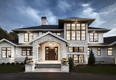 Modern Farmhouse Exterior with arched entry. Modern Farmhouse Exterior Modern Farmhouse Exterior with arched wntry. Style At Home, Contemporary Style Homes, Contemporary Design, Contemporary Houses, Big Modern Houses, Modern Mansion, Modern Style Homes, Modern Castle House, Contemporary Home Plans