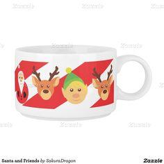 Santa and Friends Chili Bowl #christmas #holidays #santa #reindeer #elf