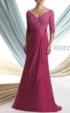Vestidos para madre de la novia noble magenta media manga V-cuello formal vestido de noche de Gasa