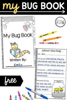 Use this free printable bug book for a non fiction reading and writing unit! It is perfect for first grade writers and makes a great literacy center activity! Kids will love writing their very own all about bug book! Bug Activities, Toddler Activities, Learning Activities, Summer Science, Life Science, Activity Centers, Literacy Centers, Bee Book, Exercise For Kids
