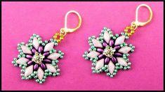 DIY | Perlen Blumen Ohrringe | Beaded flower earrings with gemduos | Bea...