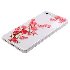 Huawei P8 Lite Hülle,Huawei P8 Lite Case [Scratch-Resistant], ISAKEN Huawei P8 Lite Ultra Slim Perfect Fit Beautiful Floral Flower Peach Blossom Design Muster Malerei TPU Clear Transparent Protective back Hülle Hüllen Beschützer Haut Case Tasche Schutz Et
