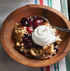 Stoke that camp fire, it's time to make a Dutch Oven Berry Cobbler! Don't forget the whipped cream or vanilla ice cream for serving.