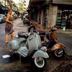#vespa Vespa Ape, Lambretta Scooter, Vespa Scooters, Piaggio Vespa, Vespa Girl, Scooter Girl, Vintage Bikes, Vintage Vespa, Vintage Italy