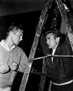 Rebel without a cause behind the scenes. Tab Hunter James Dean BAE- ON A SHIRT