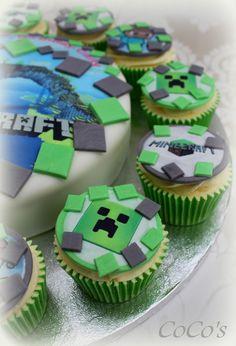 2015 minecraft creeper inspired cupcake - cake, 2015 Halloween - Go! by daniel_galissot Minecraft Cupcakes, Minecraft Party, Minecraft Food, Mini Cakes, Cupcake Cakes, Cake Decorating Supplies, Party Cakes, Party Treats, Cake Designs