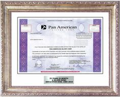 Pan American Silver - Antique Silver Frame Package. Popular gift for 25th Anniversaries and 25th Birthdays. The silver package comes framed in our Antique Silver frame, Soapstone white mat, and personalized engraved silver-look plaque. Choose gift wrap and we'll wrap it in our silver gift wrap as well! 25 years deserves a Silver Mine.