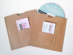NEW Design - 20 Stitched CD/DVD Case / Sleeve with Business Card Pocket - Brown. $40.00, via Etsy.