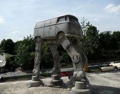 Volkswagen Bus AT-AT Walker. Perfect storm of geekiness and hippieness.