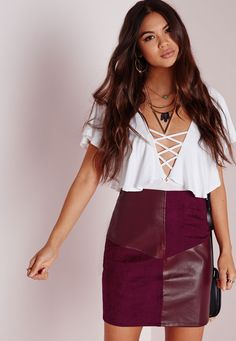 Faux Suede And Leather A Line Skirt Burgundy - Mini - Skirts - Missguided