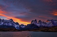 Photograph by Stuart Litoff.  #Sunset in #TorresdelPaine #NationalPark in #Patagonia #Chile
