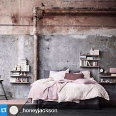 Dear blush and concrete  I love you - always have Always will Xx Julia Green  Thanks for sharing @_honeyjackson  See below for image credits x #stunningbedroom #blush #interiorstyling #interiordesign #styleinspo #bed #concrete