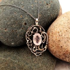 Серебрянный кулон с розовым кварцем wire wrap - wire wrap,авторская работа