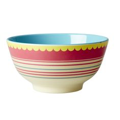 Striped Melamine Bowl by Rice DK, Offerd by Modern Rascals. Fun, Durable Kids Cups and Dishes. Baking Bowl, Danish Interior Design, Christmas Bowl, Kids Dishes, Co2 Neutral, Kids Plates, Retro Stil, Dish Sets, Mixing Bowls