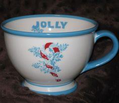 Starbucks Holiday Jolly Coffee Mug Tea Cup Blue White Pedestal 10 oz. Candy Cane #Starbucks
