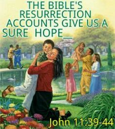 The Bible's resurrection account gives us a sure hope. - John 11:39 - 44.