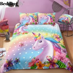 Shop for unicorn bedding set, unicorn personalized bedding set. We have a lot of styles of unicorn bedding sets. Find your kid's unicorn bedding sets now! Baby Girl Bedding Sets, 3d Bedding Sets, Luxury Bedding Sets, Unicorn Bed Set, Unicorn Bedroom, Unicorn Kids, Bed Sets, Cool Beds, Duvet Covers