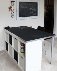 15 of the Coolest DIY Craft Room Tables Ever! craft room desk from ikea bookshelf with text längs ins Zimmer mit kürzeren Beinen unter die Schräge The post 15 of the Coolest DIY Craft Room Tables Ever! appeared first on Charlotte Thompson. Craft Table Ikea, Craft Room Desk, Craft Room Tables, Craft Room Storage, Diy Table, Room Organization, Diy Desk, Ikea Storage, Craft Rooms