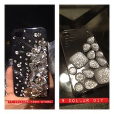 Saw the one on the left at a dept store for $45!!!! I knew I could make one I liked better for wayyyy cheaper, the plus side to mine is the case is clear instead of black! :)