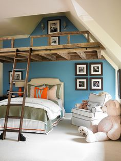 What a great kid's room!  Love the rustic loft to take advantage of the vaulted ceiling space.