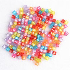Square Beads with letters in transparent color, white or black, 100pcs per color of your choice by 1supply on Etsy