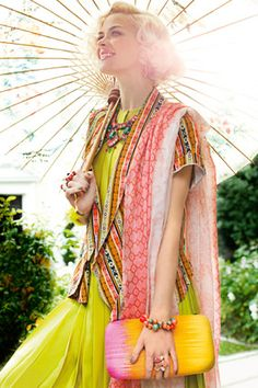 coral and neon lime. so many patterns! (Suzanna Dai Coral Rajasthan Necklace)