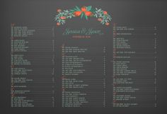 Blackboard floral wedding seating chart board poster DIY by itcoa, $50.00