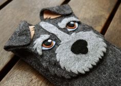 Schnauzer iPhone Case - Dog Felt Phone Cover - Cell Phone Sleeve - Handmade felt case gray on Etsy, 16,00 €