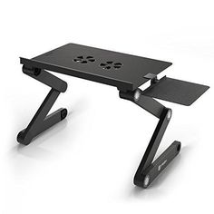 Pwr Portable Laptop-Table-Stand with Mouse Pad Fully Adjustable-Ergonomic Mount-Ultrabook-Macbook Light Weight Aluminum-Black Bed Tray Desk Book Fans Up to 17""