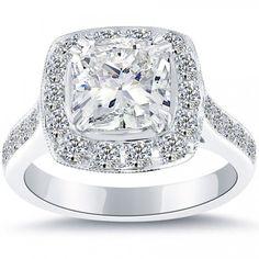 3.33 Carat G-VS1 Cushion Cut Natural Diamond Engagement Ring 14k Vintage Style - Pave Halo Engagement Rings - Engagement - Lioridiamonds.com