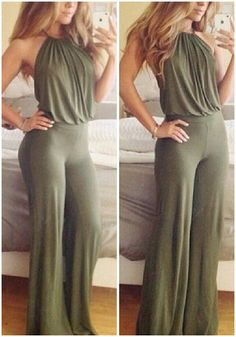 This army green halter jumpsuit features halter neckline, open back and back zip closure. Play up your look by pairing this with body chains for a look that stands out. | Lookbook Store Jumpsuits and Rompers