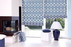 Obývačka - moderný dizaj    #obyvacka#geometric#vzory#rimskaroleta#roleta#sedaky#modra Valance Curtains, The Hamptons, Blinds, Carpet, Pillows, Home Decor, Spot Lights, Dark Blue, Decorating