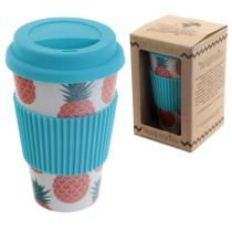 Pineapple Eco-Friendly Biodegradable Bamboo Travel Cup - Ancient Wisdom - Wholesale Giftware and Aromatherapy Supplier Pineapple Design, Pineapple Print, Drinking Jars, Reusable Coffee Cup, Travel Cup, Plastic Bottles, Biodegradable Products, Coffee Cups, Eco Friendly