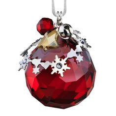 Swarovski Light Siam Satin Crystal Christmas Ornament