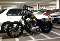 my harley seventy two 72 at the mall. looking pretty skinny. Sportster 48, Custom Sportster, Biker Clubs, Motorcycle Clubs, Harley 1200, Iron 883, Motorcycle Travel, Bobber Chopper, Harley Davidson Bikes
